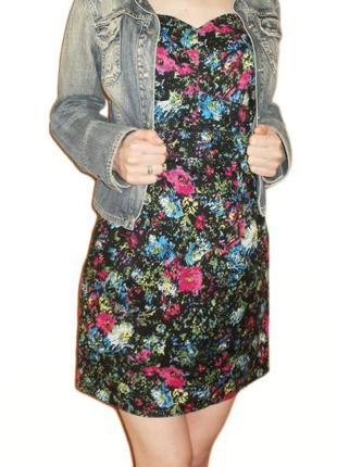 Летнее платье хлопок, сарафан с открытыми плечами бюстье принт размер 10 наш 44