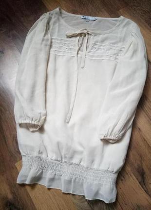 Блуза рр 10, рукав волан фонарик вышиванка вышивка сетка прозрачная беж нюд айвори
