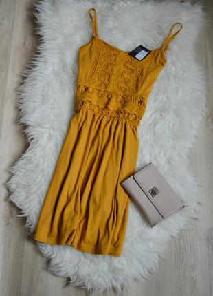 Акция! 1+1=3 новое платье с кружевом горчичного цвета  atmosphere