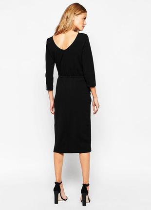 Черное фактурное миди платье miss selfridge