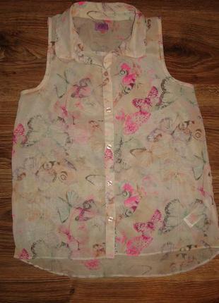 F&f нежная шифоновая рубашка, блузка на 10-11 лет  c бабочками
