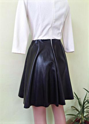 Платье комбинация юбка кожа верх -текстурная ткань
