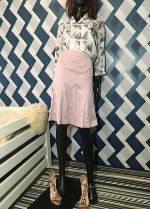 Трендовая юбочка трапеция под замш нежно розового цвета от next
