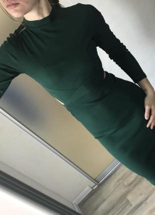 Платье в рубчик миди с вырезами topshop