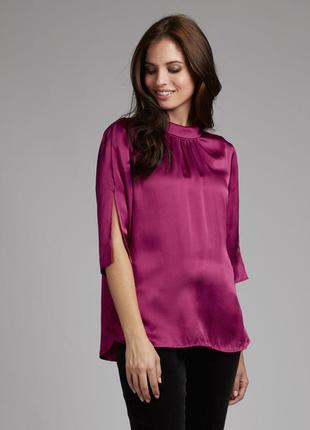 Шелковая блуза цвета фуксии laura ashley