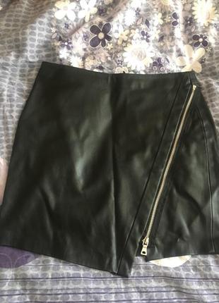 Ассиметричная юбка мягкий кожзам zara