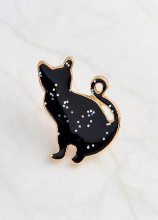 Большой выбор! стильный пин черный кот блестки котик брошь значек брошка