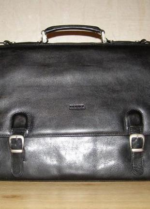 Вместительный двухсторонний портфель nobel, плотная кожа