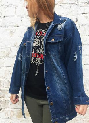 Эксклюзивная джинсовая куртка  с рисунком oversize harley quinn (авторская роспись)