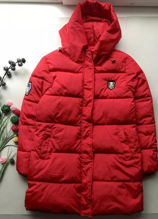 Свободный красный пуховик одеяло /куртка пуховик италия