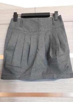 Теплая серая юбка мини из натуральной ткани