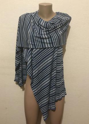 Весенний широкий шарф палантин из трикотажа с полосатым принтом 240*43 см.