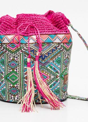 Яркая сумка кисет в стиле бохо luna lena с кисточками кроссбоди/торба