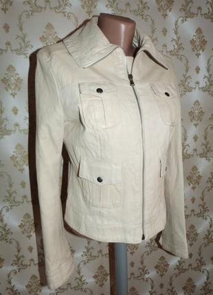 Белая кожаная куртка. leonardo.