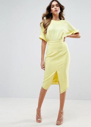 Желтое платье миди asos с разрезом, р-р 6