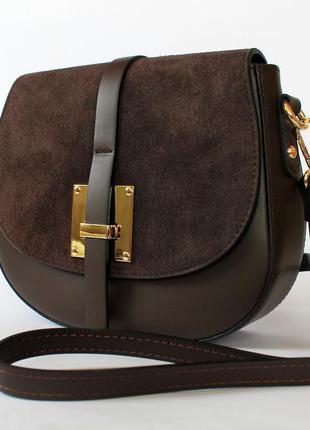 8dc4c03bb22b Седельная итальянская коричневая кожаная сумка (натуральная кожа/замша),  италия