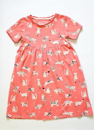 Стильное платье с котиками bluezoo, 5-6 лет