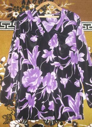 Сиреневая в цветы блуза,кофточка,туника  fair lady