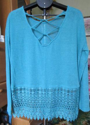 Блуза легкий джемпер с кружевом наш 52-54