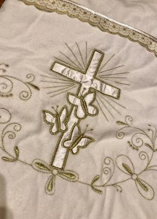 Велюровый плед-конверт на крещение