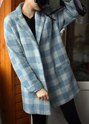 Трендовое пальто-oversize atmosphere (пальто в клетку, размер м)