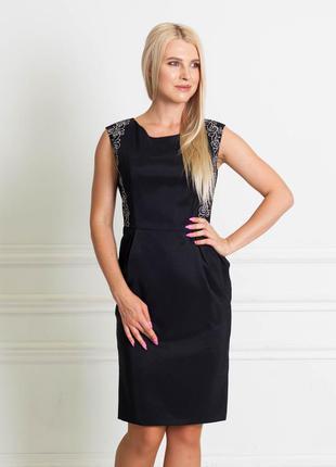 Распродажа до 31.10! чёрное платье-футляр с кружевной отделкой bonanza