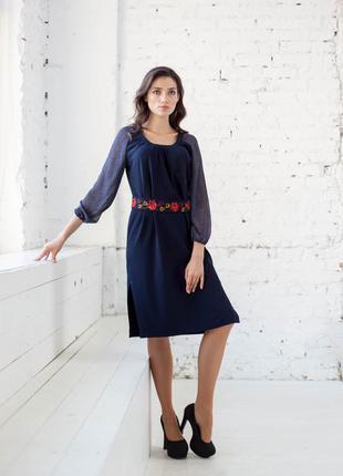 Распродажа до 31.10! платье в украинском стиле из шифона с ярким поясом bonanza