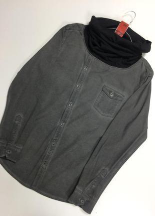 Супер стильная джинсовая рубашка с  трикотажным хомутом  s.oliver