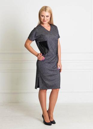 Серое шерстяное платье с вставками из эко-кожи bonanza