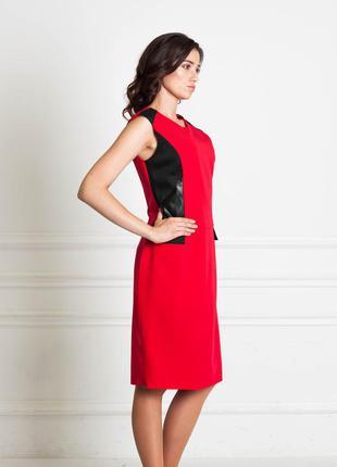 Распродажа до 31.07! красное платье  с вставками из эко-кожи bonanza