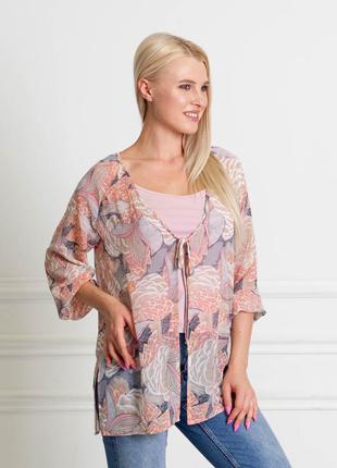 Распродажа до 31.07! блуза-накидка с серо-коралловым орнаментом bonanza