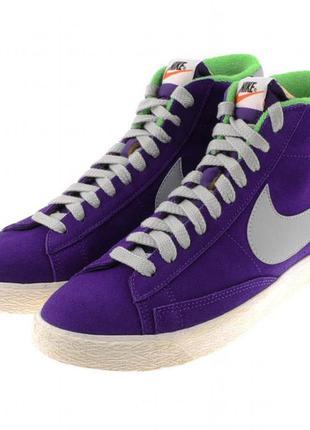 Замшевые высокие фиолетовые кроссовки кеды nike blazer оригинал