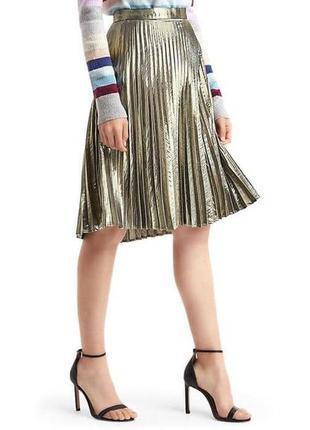 Серебристия металлизированая плиссерованная миди юбка gap