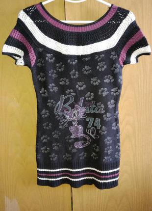 Вязаное платье-туничка