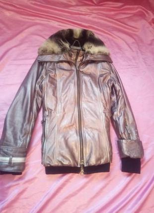 Кожаная зимняя куртка с натуральным мехом