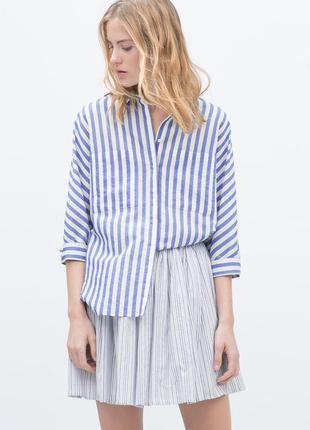 Снизила цену zara рубашка в голубую полоску м - размер