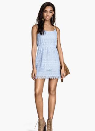 Снизила цену кружевное платье небесного голубого цвета от h&m