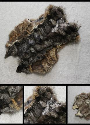Меховый жилет.чернобурка.волк.