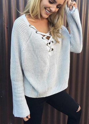 Тонкий мятный объёмный свитерок