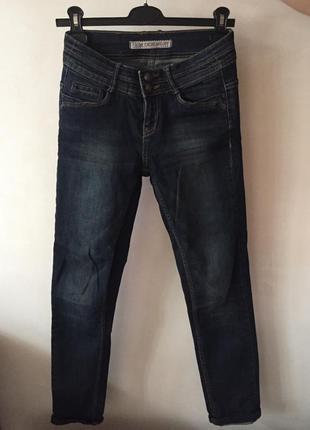 Темно синие джинсы с завышенной посадкой 98% хлопок