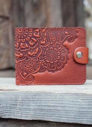 Маленький женский кошелек кожаный коричневый рыжий с орнаментом бохо ручной работы