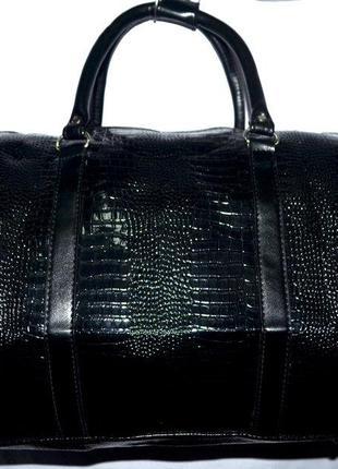 Стильная богатая черная дорожная сумка ручная кладь из эко кожи
