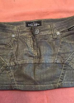 Sale! джинсовая юбка золотистая victoria beckham