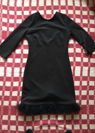 Чёрное платье с пухом от topshop