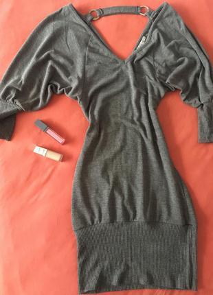 Платье туника серая