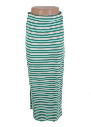 Длинная трикотажная юбка в полоску c разрезами по бокам j free