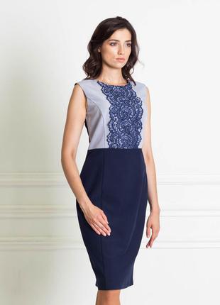 Распродажа до 31.10! платье темно-синее с синим с кружевом на груди bonanza