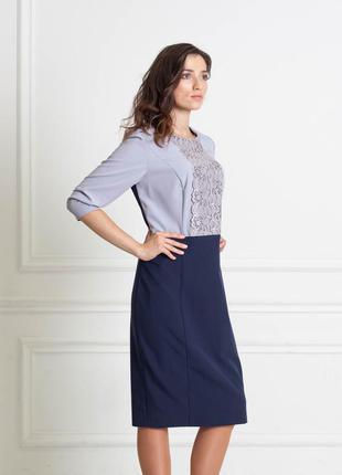 Распродажа до 31.07! платье темно-синее с серым с рукавом три четверти bonanza