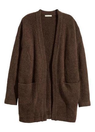 Коричневый кардиган h&m из смесовой шерсти,теплый шерстяной кардиган с карманами
