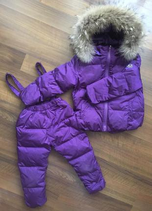 Зимний комбинезон комплект куртка штаны moncler 98-104 (3-4 года) с натуральным мехом